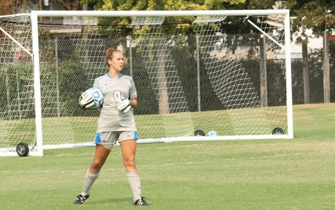 Chico State women's soccer goalie Brianna Furner during a game earlier this season. Photo credit: John Domogma