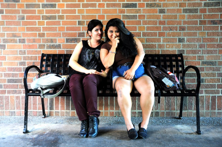 Melissa Herrera, left, an undeclared freshman, and Jacqueline Fernandez, right, a freshman criminal justice major, talk about a friendship that started before they came to Chico State. Photo credit: Annie Paige