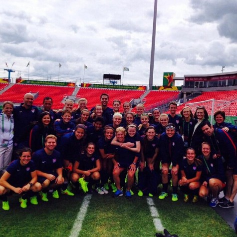 Molly Downtain (back row, third from right) working the Under-20 Women's Youth United States National team in the Under-20 World Cup which took place during August 2014. Photo courtesy of Molly Downtain.