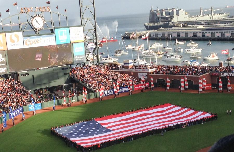 Ceremonies take place at Game 3 of the 2014 World Series between the San Francisco Giants and the Kansas City Royals. Photo credit: Kevin Lucena