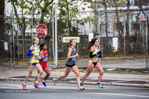 Former Chico State distance runner Alia Gray, far right, competes in the New York City Marathon. Photo courtesy of Alia Gray