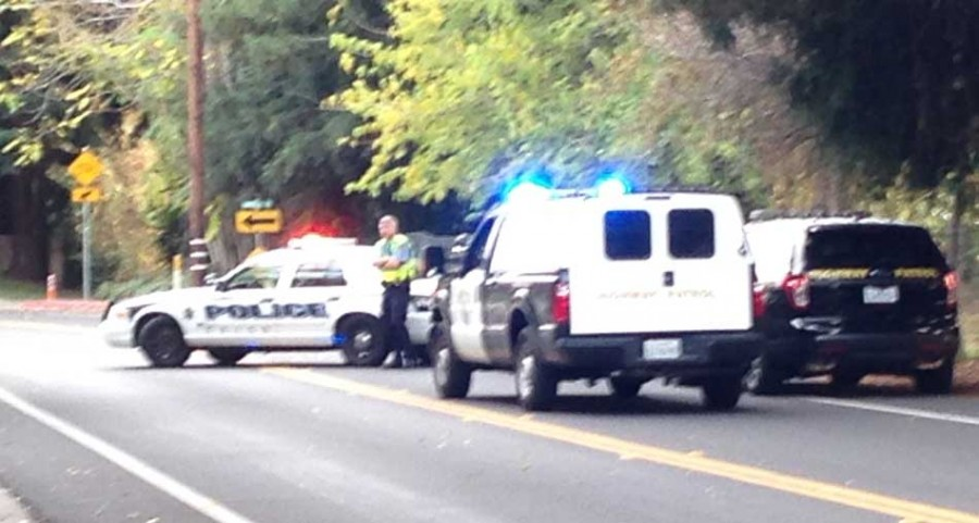 Chico Police and Highway Patrol block off Humboldt Road after the Butte County Bomb Squad responds to a bomb threat at the Chico Police Department, Tuesday afternoon. Photo credit: Christine Lee