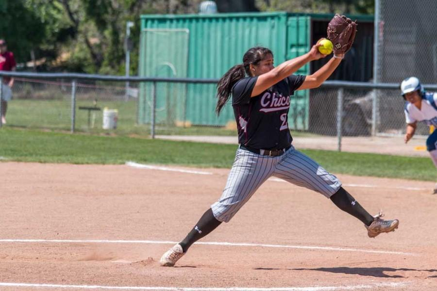 Former Chico State pitcher Alex Molina in the middle of her delivery in a game last season. Orion file photo
