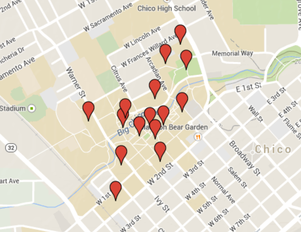 Map of building names on campus. Photo courtesy Google Maps