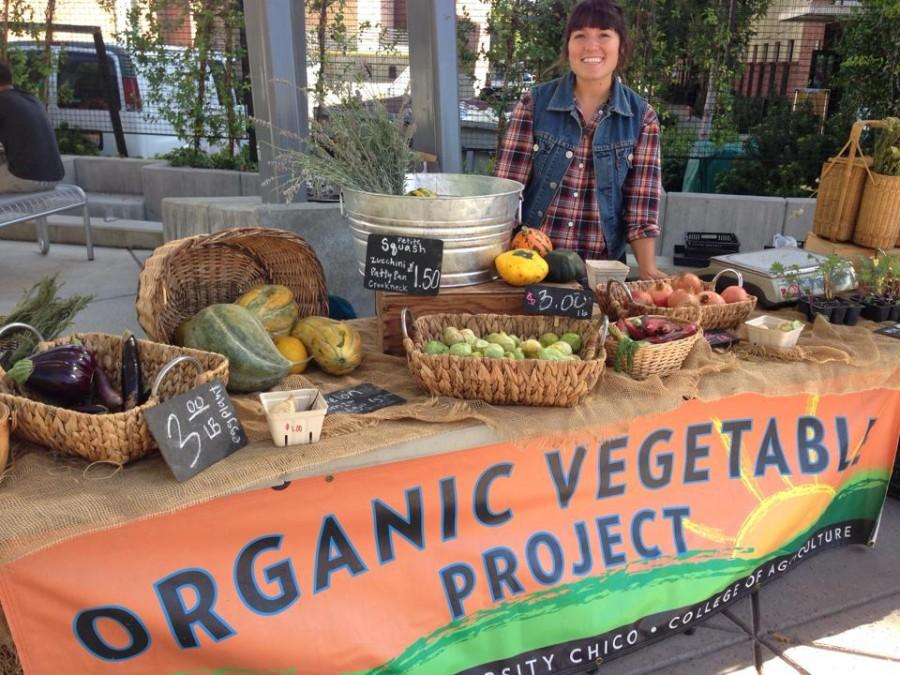 Elisabeth Quick, a senior agriculture major and Organic Vegetable Project market manager, runs the booth to sell vegetables every Thursday. Photo courtesy of Elisabeth Quick