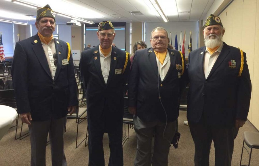 Former Army Cpl. Stanford Smith, former Army Sgt. Hank Snow, retired Army Staff Sgt. Joey Turner and retired Master Chief Petty Officer Stan Haley. They are members of the Chico Veterans Honor Guard. Photo credit: Anna Sobreviñas