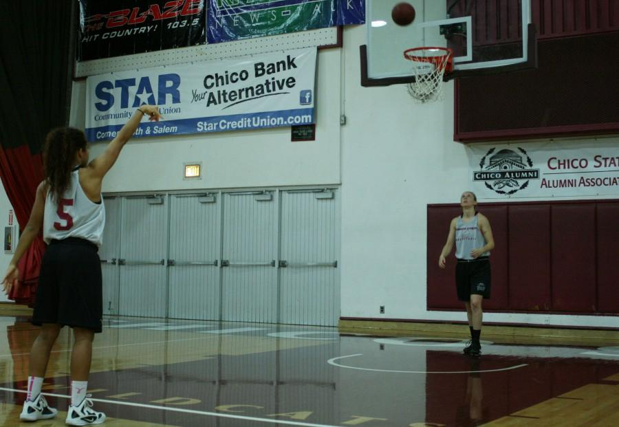 Chico State women's basketball player Hannah Womack works on her free throw shooting in practice. Photo credit: John Domogma