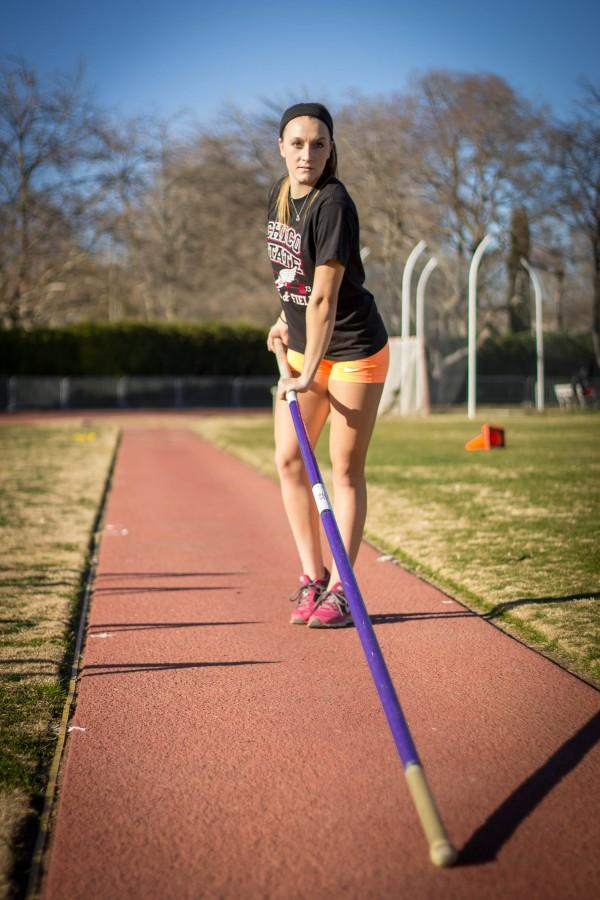 Kasey Barnett, former Chico State pole vaulter, during practice in 2014. Orion File Photo