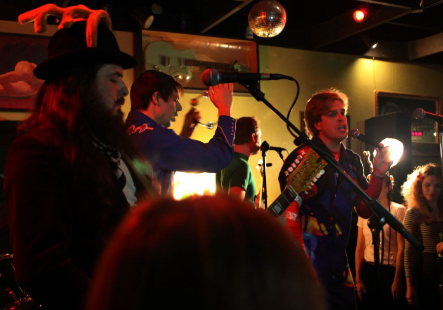 The Yule Logs, a local holiday-themed rock 'n' roll band, entertained Chico locals at Duffy's Tavern Friday with its use of holiday-themed props. Photo credit: John Domogma
