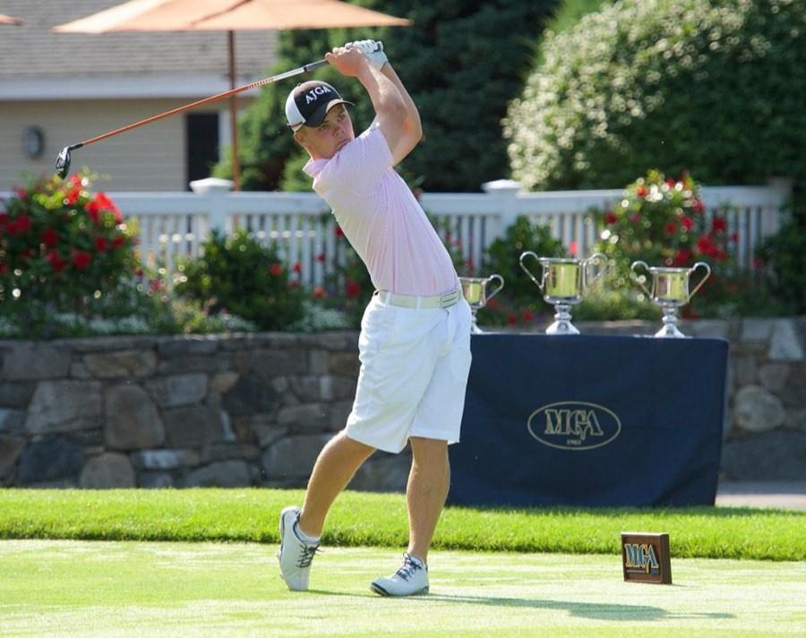 New men's golf recruit Matt Hutchins finishes his swing. Photo courtesy of Matt Hutchins.
