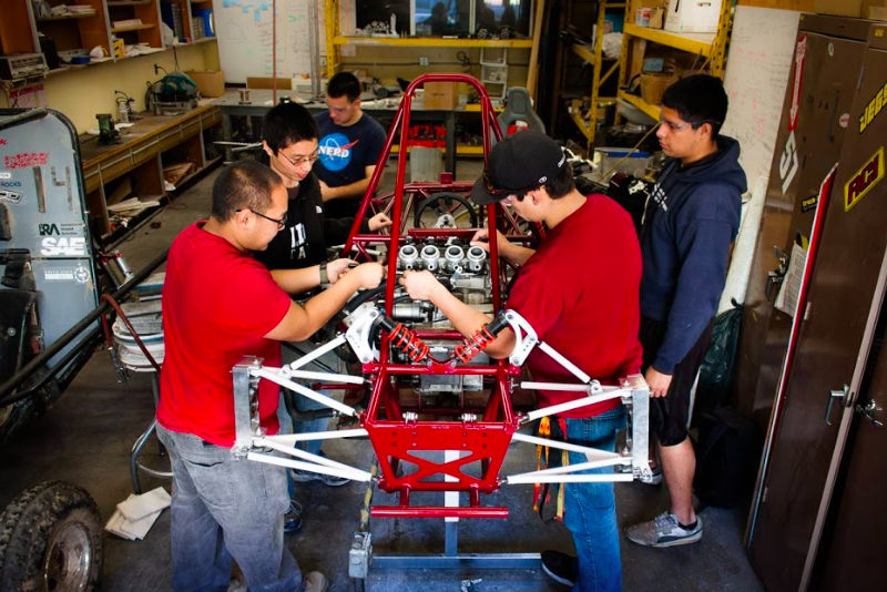 Chico State's Society of Engineers team is hard at work on the new and improved race car for the Formula SAE competition in 2015.