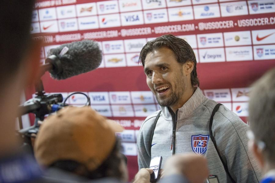 Former Chico State student Chris Wondolowski talks to the media after playing for the U.S. Mens National Team against Azerbaijan at Candlestick Park in May 2014. Photo Courtesy Jason Halley/University Photographer.
