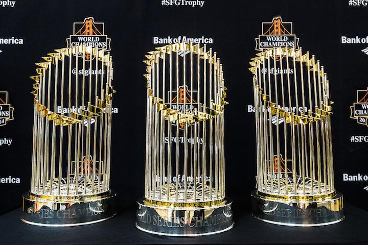 The San Francisco Giants' World Series championship trophies on display at Aaron Ray Clark Memorial Field House in Chico on Jan. 31. Thousands of fans showed up at the event to get a glimpse of and take photos with the trophies. Photo credit: Trevor Ryan