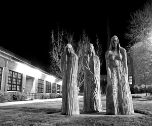 Chico State campus in the dark