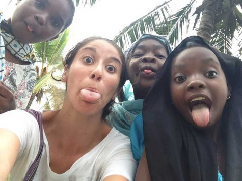 Jeanette Adame, junior history major, taught English to young children in the Zanzibar region of Africa. Photo courtesy of Jeanette Adame.