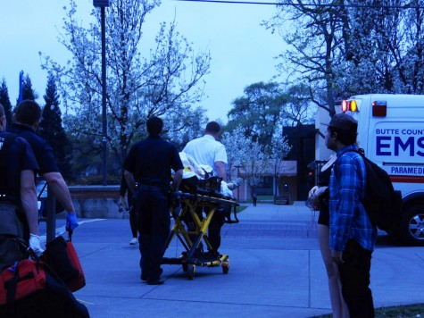 EMT rushed an unknown female Chico State Student to Enloe Medical Center Tuesday. Photo credit: George Johnston