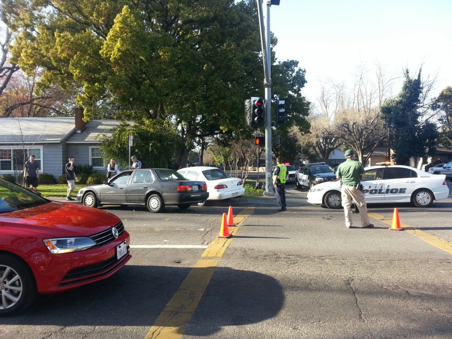 A two car accident occured on the corner of West Sacramento Avenue and Warner Street. Photo credit: Brittany Mcclintock