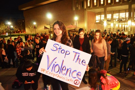 Hallie Makrakis, a junior political science student, was part of the rally against violence on March 12, in response to recent violence in the community. Photo credit: Caio Calado