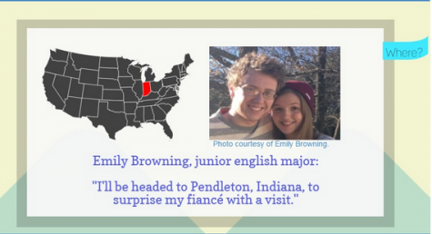 Emily Browning, junior English major, will be traveling to Pendleton, Indiana for spring break.