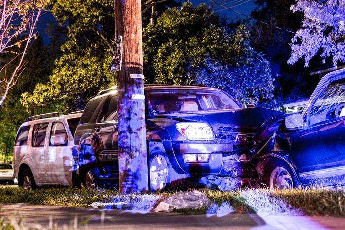 Campos's SUV hit two parked cars on Hazel Street. Photo credit: Trevor Ryan