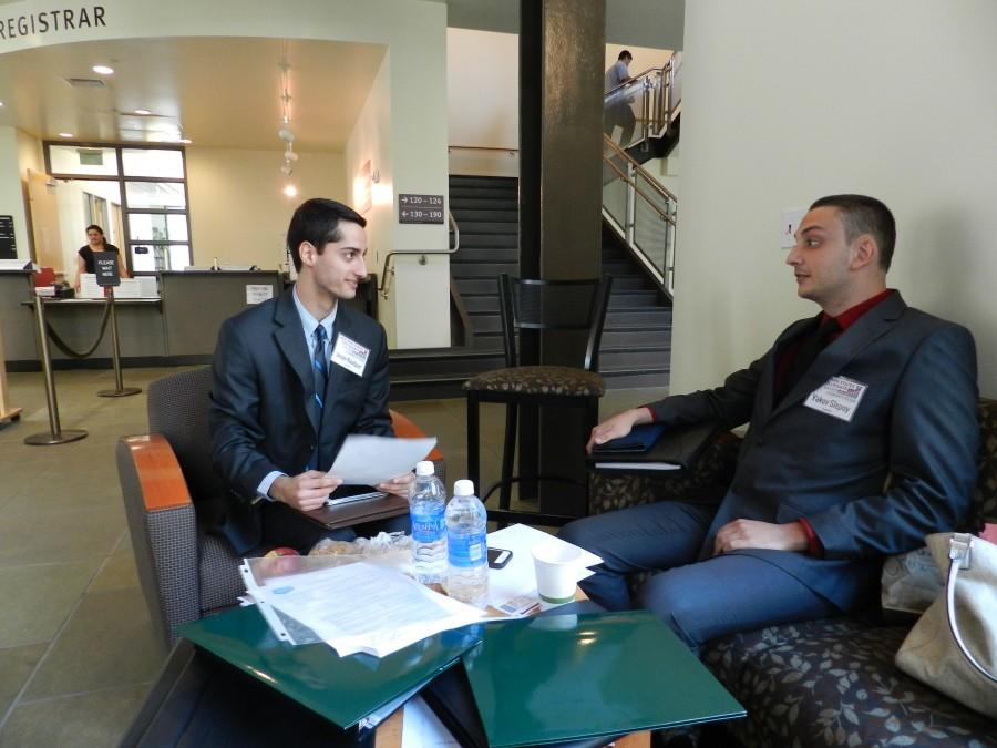 Jason Raofpur (left) and Yakov Sleepy (right) two sales competitors from the University of Texas, Dallas Photo credit: Brianne Mcevoy