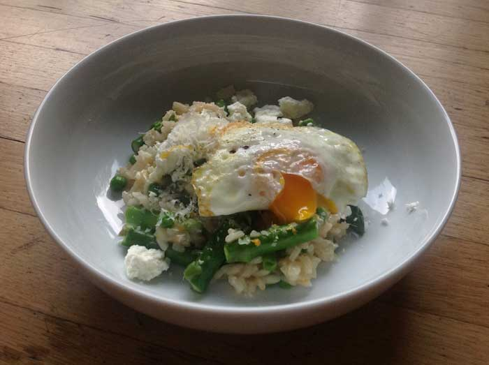 Risotto with asparagus, peas, goat cheese and a yolky egg. Photo credit: Grace Kerfoot