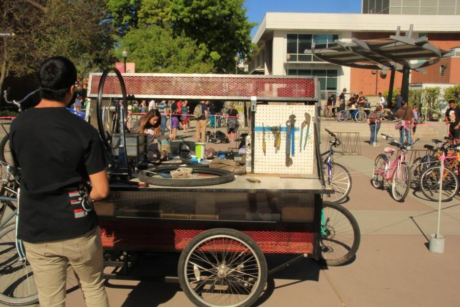The Chico State Bike Cart auctions off bikes for students. Photo credit: Gustavo Ornelas