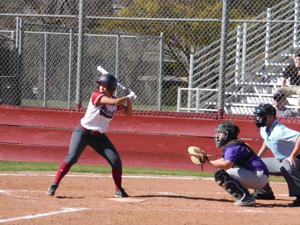 Junior Alli Cook batting against Hawaii-Hilo on Feb. 12. Photo credit: George Johnston