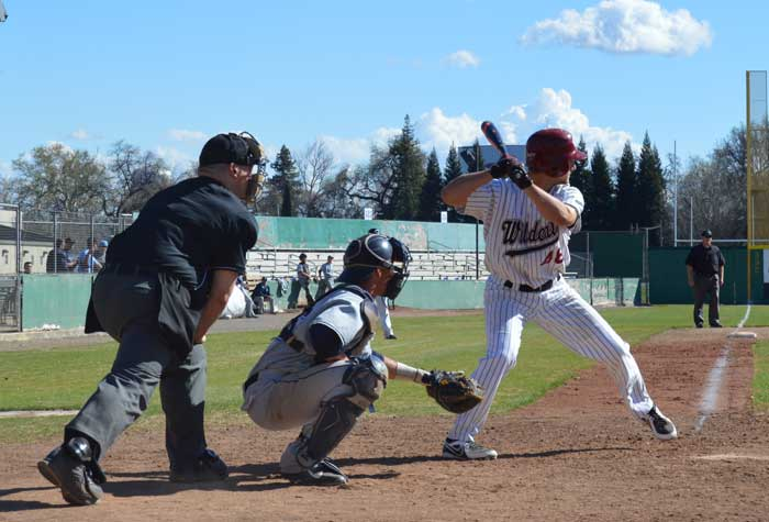 Junior outfielder Matt Jacobson batting against Sonoma State on Feb. 27 Photo credit: Caio Calado
