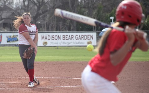 Freshman pitcher Haley Gilham launches the ball at the Chico State softball field in a game against University of Hawaii on Feb 12. Photo Courtesy: John Domogma