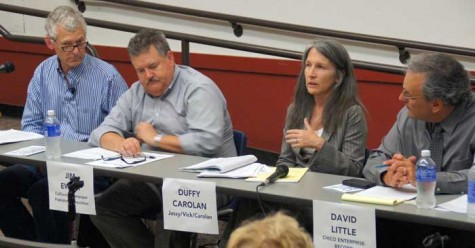 Left to right: Peter Scheer, executive director of the First Amendment Coalition, Jim Ewert, general counsel of the California Newspaper Publishers Association, Duffy Carolan, a parter at the Jassy/Vick/Carolan law firm, and David Little, editor of the Chico Enterprise-Record speak at a media panel about free speech issues in Ayers auditorium on Monday. Photo credit: Mark Plenke