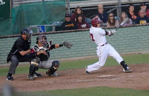 Junior infielder Andrew Carrillo takes a swing on April 12 in a game against Cal State Dominguez Hills. Photo credit: Ryan Pressey