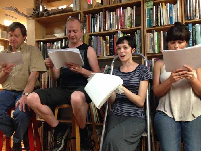 Rob Davidson, left, Jesse Mills, Alex Hilsee and Jessica Sijan of Slow Theatre perform scenes from Sarah Ruhl's