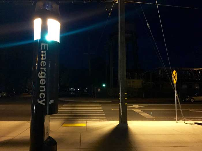 There are 40 emergency blue light phones throughout the Chico State campus to provide security to those who are not feeling safe. Photo credit: Suzy Leamon