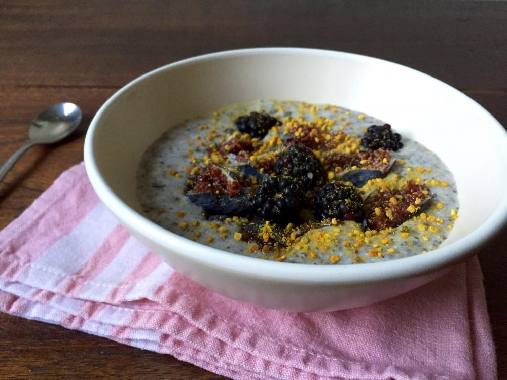 Chia breakfast bowl topped with figs, blackberries and bee pollen. Photo credit: Grace Kerfoot