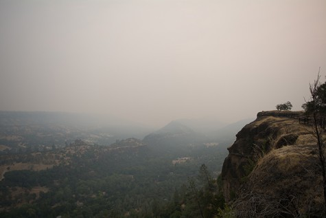 The view of Butte Creek Canyon as seen from Lookout Point on Skyway is muddied with smoke from local fires on Monday, Sept. 14. Photo credit: Alicia Brogden