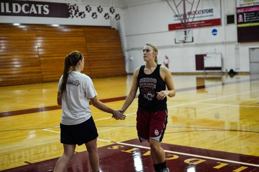 (Left) Brooke Bowen, senior guard and forward,  and (right) Kayla Taylor, transfer forward and center. Photo credit: Ryan Pressey
