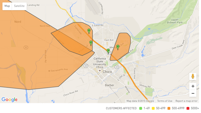 Several areas are being affected by the power outage in Chico. Photo credit: Suzy Leamon