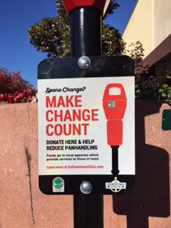 Donation meters downtown will accept cash, coins and payment cards. Photo credit: Carly Plemons