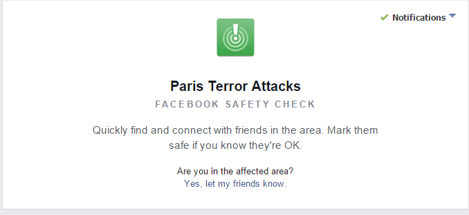 Facebook made a safety check for the Paris terror attacks so that those in the affected areas could quickly find and connect with friends.