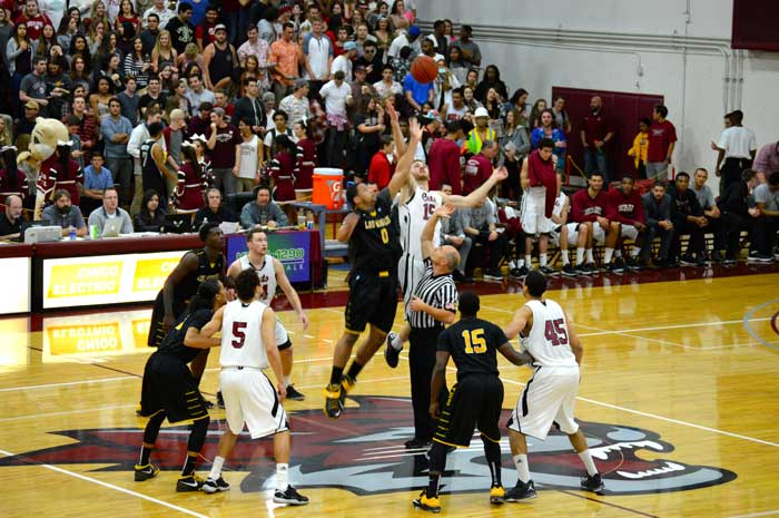 The Chico State mens basketball team lost 50-62 to Seattle Pacific University on Nov. 27. Photo credit: John Domogma