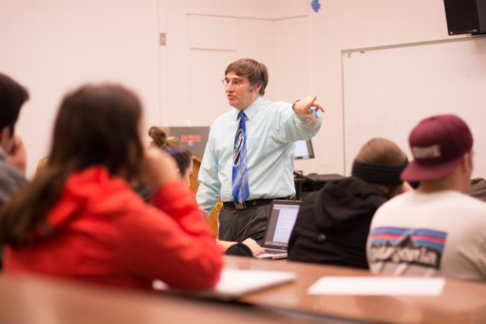 John Crosby, political science lecturer, discusses the positives and negatives associated with lecture teachers at Chico State. Photo credit: Alicia Brogden