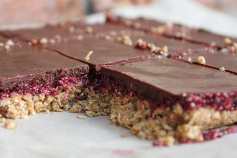 Almond butter, chia jam, dark chocolate bars