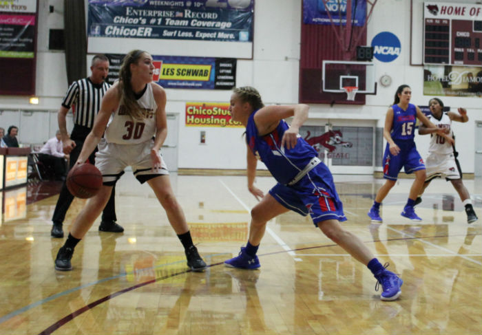 Senior guard Brooke Bowen looks for teammates during a game. Photo credit: The Orion