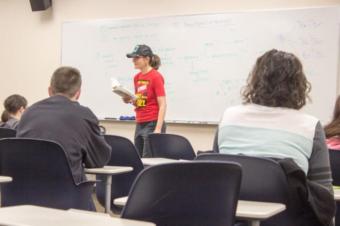 Philosophy+Professor+and+3-year+CFA+member+Susanna+Boxall+engages+her+students+through+in-class+discussion%2C+while+showing+her+faculty+support+with+the+red+CFA+shirt.