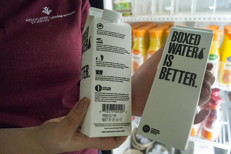 Boxed+Water%E2%80%99s+containers+are+made+of+sustainable+material%2C+according+to+Jake+Jacobs.+Photo+credit%3A+Grant+Casey
