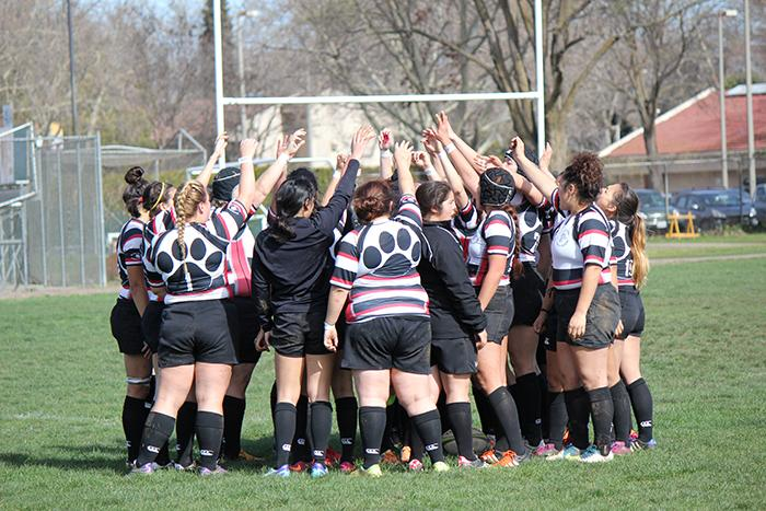 The+Chico+State+women%27s+rugby+team+gathers+after+a+hard+fought+battle+on+Feb.+20.+