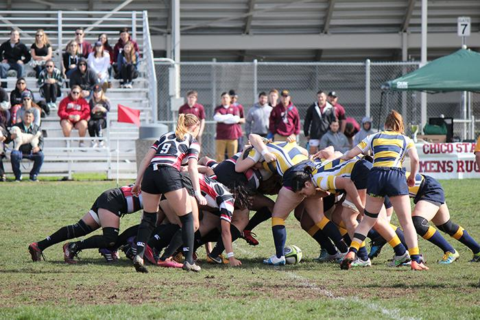 The+Chico+State+women%27s+rugby+team+fights+in+a+scrum+in+a+game+on+Feb.+20.+