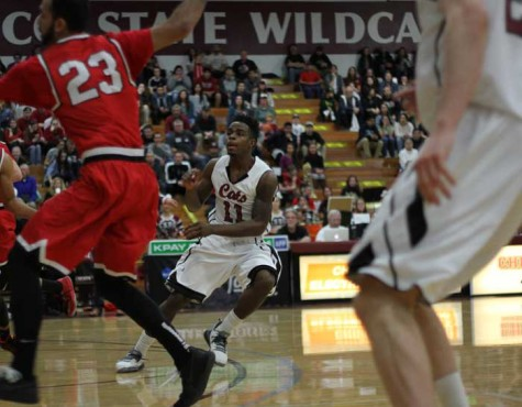 Sophomore Jalen McFerren calls for the ball in a game against Cal State East Bay. Photo credit: Jacob Auby