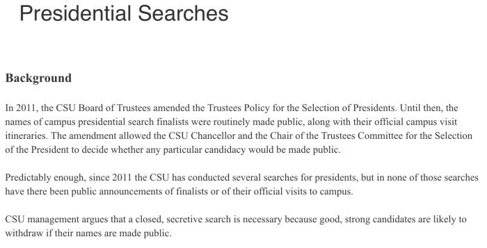 The survey discusses the background of previous presidential searches and wants feedback regarding current practices. Image courtesy of the CSUEU.
